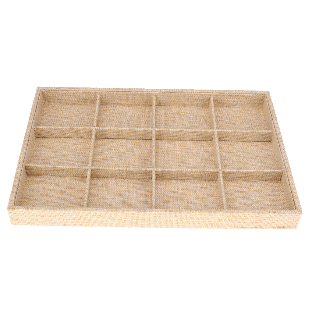 12-Slot Jute Lining Jewelry Box Bangle Ring Organiser Holder Beige