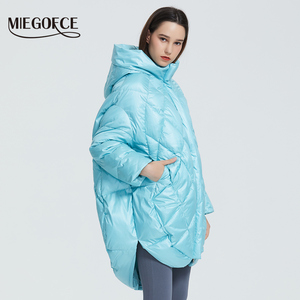 Image 2 - MIEGOFCE 2020 Новый Дизайн Роскошный Женский Парка Яркие Расцветки Повседневная Свободная Пальто Теплая Негабаритная Женская Куртка утепленные дутые куртки стойкий воротник с капюшоном