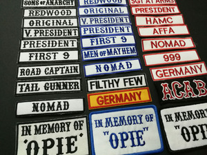 Image 2 - SONS OF NOMAD ORIGINAL V PRESIDENT REDWOOD FRIST 9 IN MEMEORY OF OPIE ACAB AFFA Embroidered ANARCHY PATCHES applique BADGES