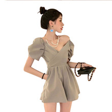 Jumpsuit for Women Sleeveless Zipper Short Playsuits Ladies Sexy V Neck Overalls Rompers