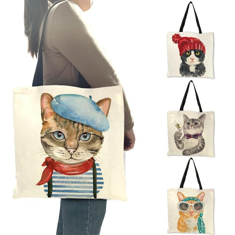 Милый кот печати для повторного использования хозяйственная сумка Для женщин сумки 2019 летняя сумка с короткими ручками для путешествий шко...