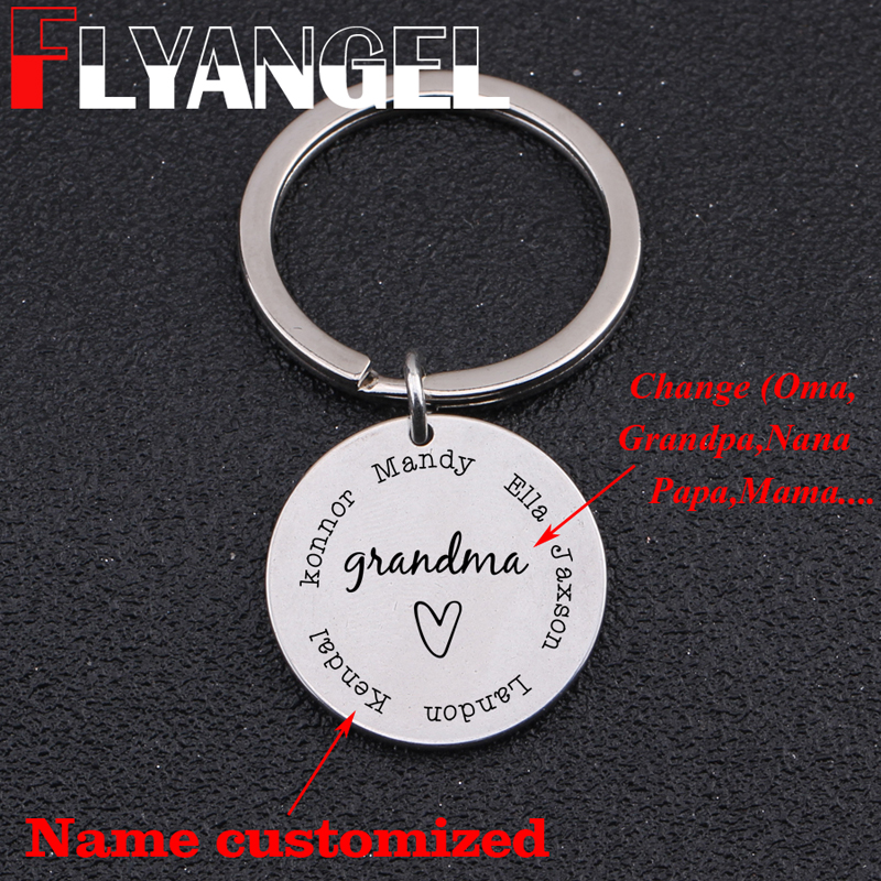GRANDMA GROWS LOVE Grandmother Key Chain Ring Flowers Garden Charms