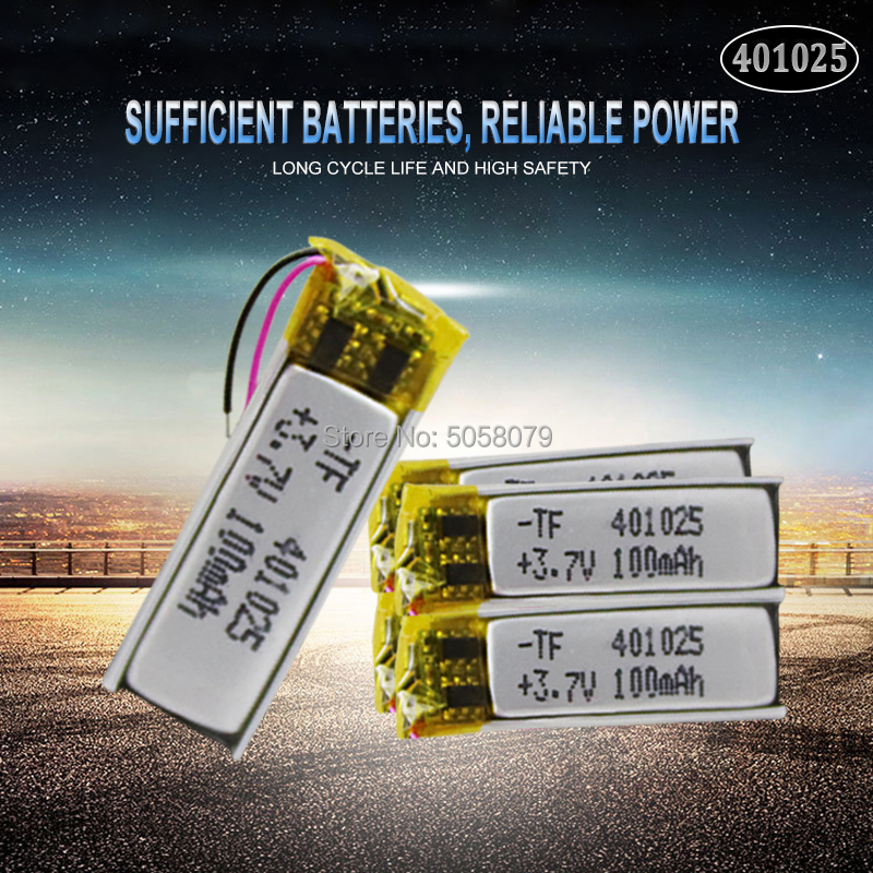 5pcs 3.7V 70mAh <font><b>401025</b></font> PLIB Polymer Lithium ion / Li-ion Battery for GPS MP3 MP4 MP5 DVD Bluetooth Model Toy Mobile Bluetooth image