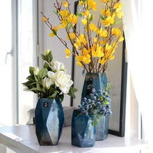 Стеклянная ваза ручной работы американский стиль Европейский предмет интерьера, украшение Геометрическая креативная домашняя Цветочная ваза