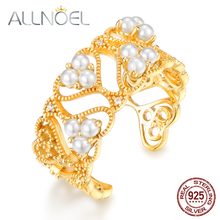 ALLNOEL 925 Sterling Silver 14K Gold Ring Natural Pearl White Zircon Diamond Gold Plated Unique Silver 925 Statement Jewelry New