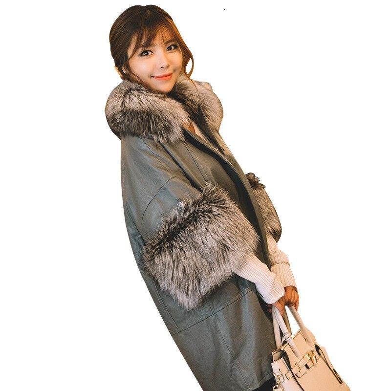 [TVVOVVIN] 2019 automne et hiver nouveaux produits mode manches chauve souris renard fourrure col en peau de mouton en cuir imitation fourrure manteau B145 - 4