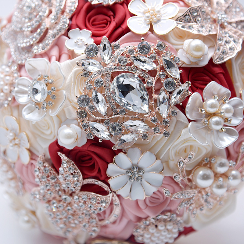 19CM Rose Wedding Artificial Flower Bouquet Silk Luxury Holding Fake Flowers Valentine's Day Home Decoration Accessories Gift - 2