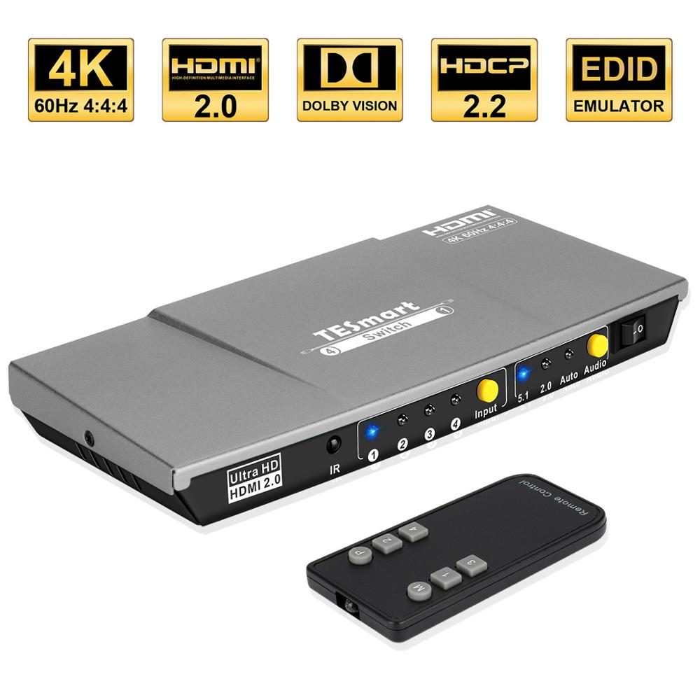 4K Ultra HD HDMI Switch 4 In 1 Out Switch HDMI 4x1Switch Up To 4K@60Hz HDCP2.2 For HDTV Audio Video XBOX DVD STB