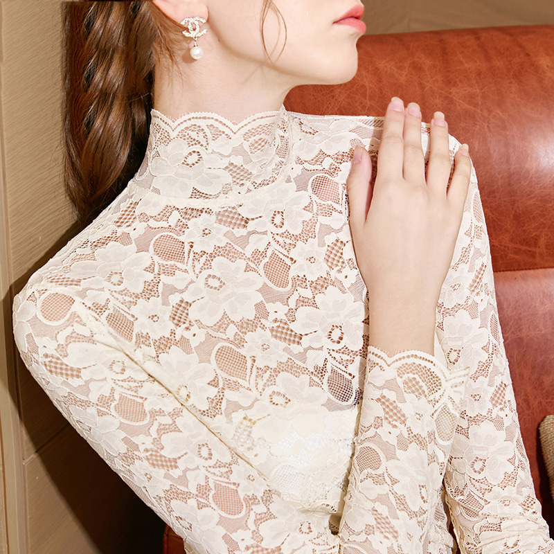 BallroomDanceTop Ladies Long-Sleeved T-Shirt Sexy See-Through Lace Shirts Spanish Dancing Clothes Waltz Practice Wear DN4957
