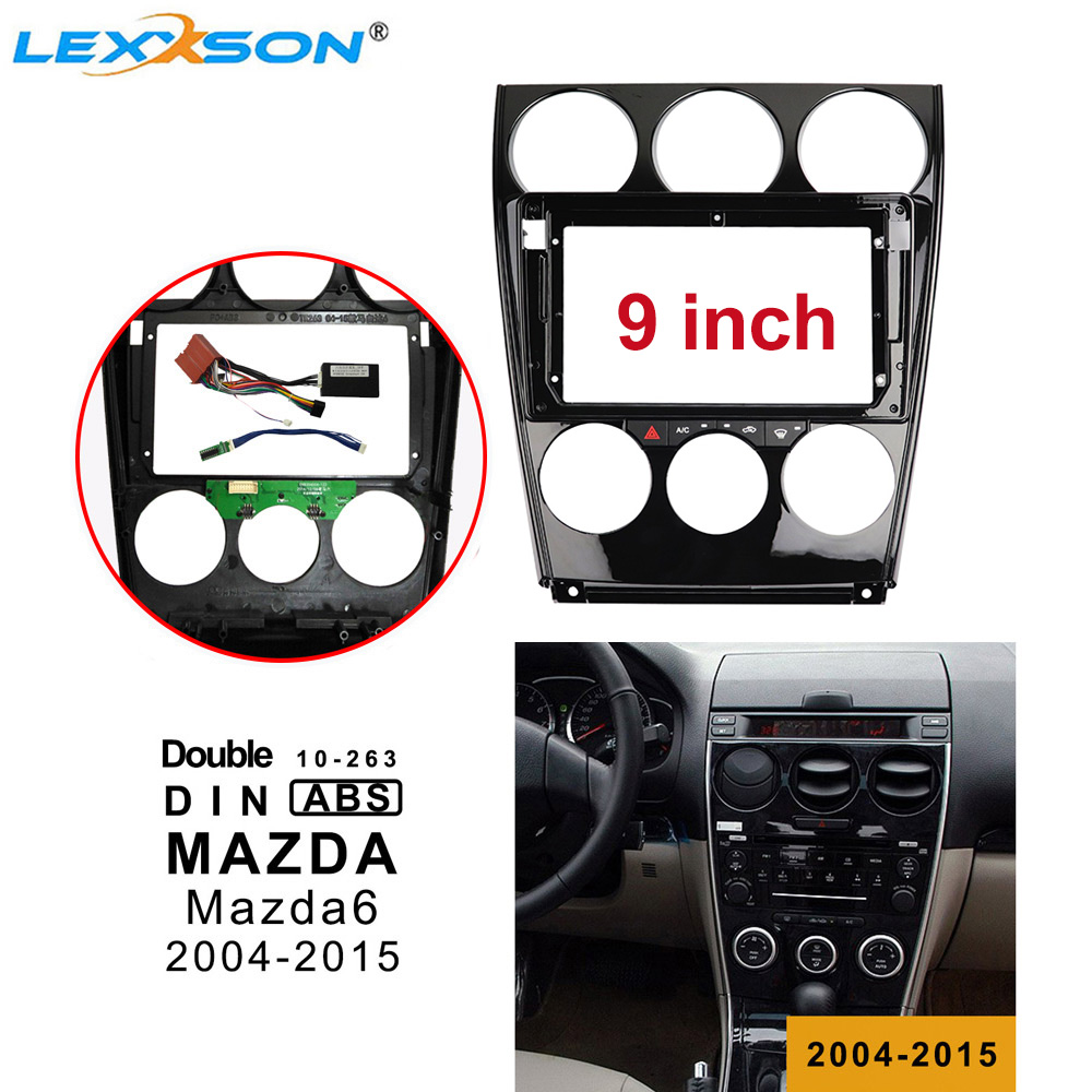 9 Inch Car Radio Fascia Kits for <font><b>Mazda</b></font> <font><b>6</b></font> 2004-2015 Double <font><b>Din</b></font> Car Frame + Air Conditioning Board + Power Harness + CANBUS BOX image