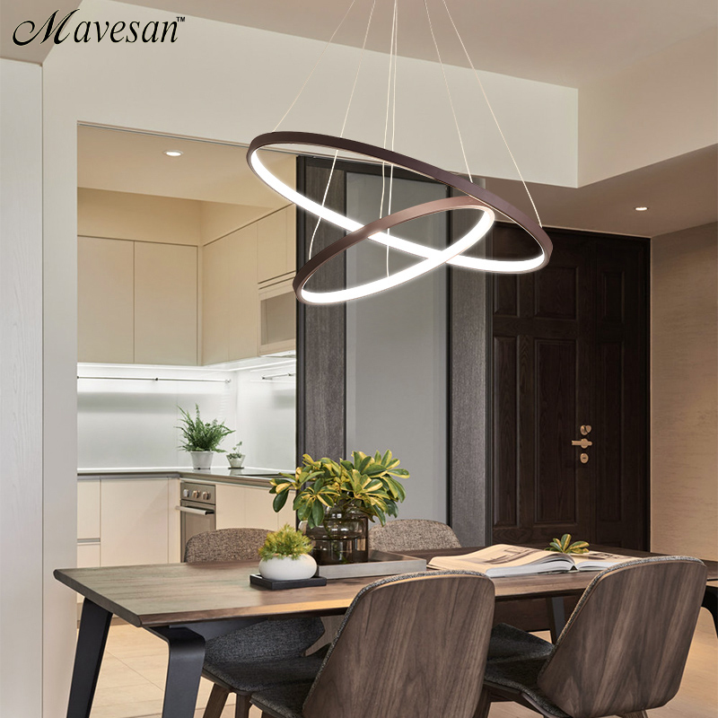 Mavesan pendant lights for living room foyer room 1/2/3 Circle Rings acrylic aluminum body LED Pendant Lamp fixtures home dero