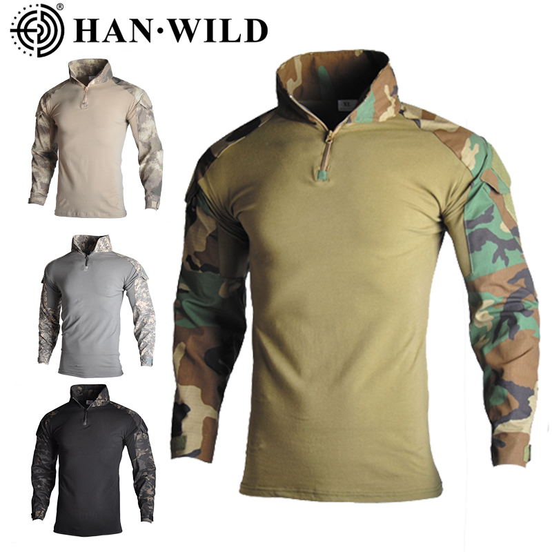 HAN WILD US Army Tactical Military Uniform Airsoft Camouflage Combat-Proven Shirts Rapid Assault Long Sleeve Shirt Battle Strike