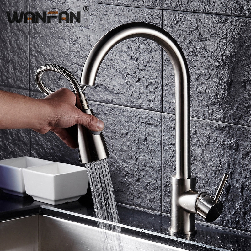 Permalink to Kitchen Faucet Brass Brushed Nickel Single Handle Kitchen  Faucet Pull Out Rotation Spray Mixer Tap Hot and Cold Faucet KL-CF004