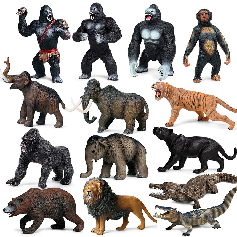Action&Toys Figure Wild Zoo Animal PVC Lion Woolly Mammoth Crocodile Tiger Bear Animal World Series Model Toys Children Gift image