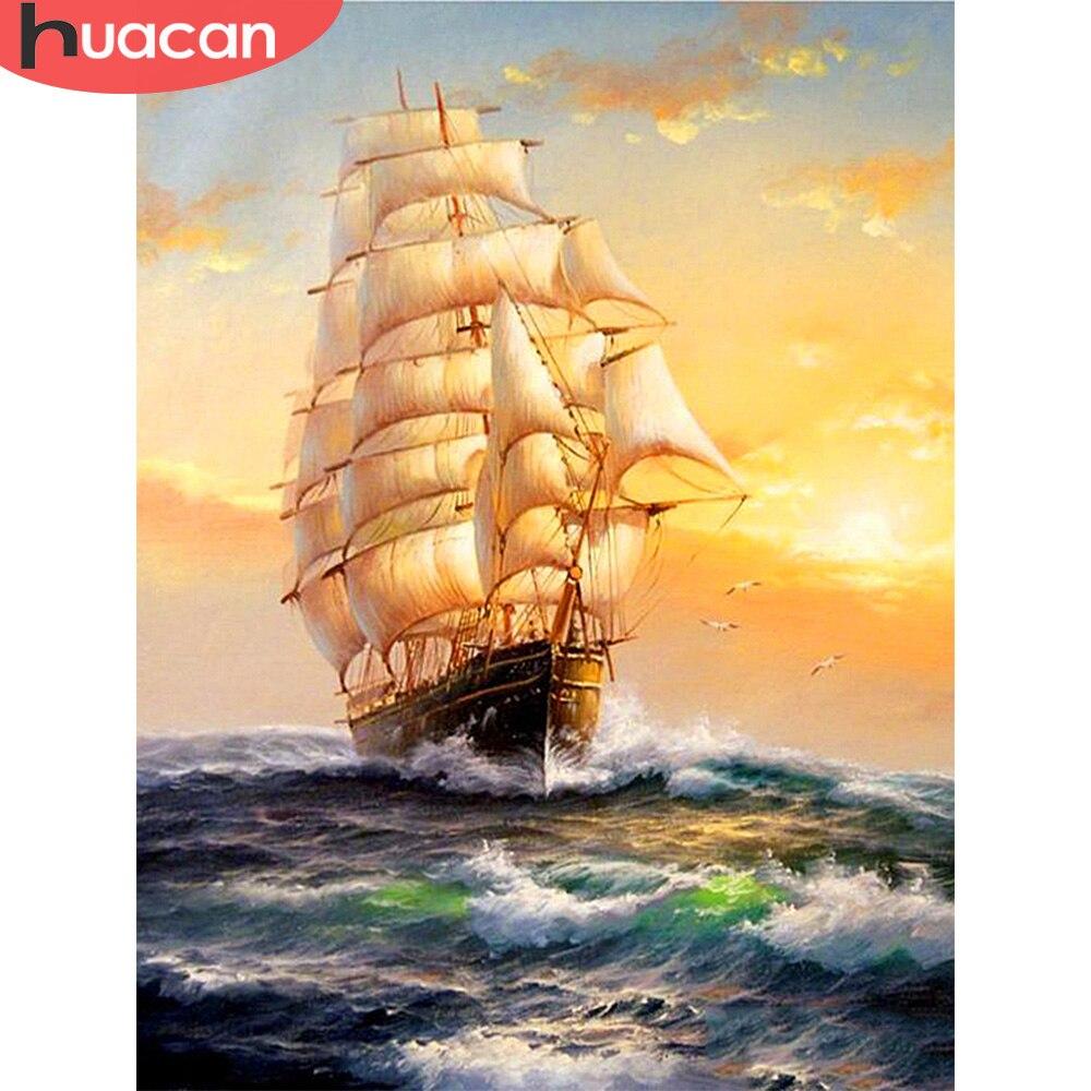 Алмазная живопись HUACAN 5D DIY, парусная лодка, квадратная вышивка, корабль, домашнее украшение, Новое поступление, мозаика ручной работы|Алмазная роспись, вышивка крестом|   | АлиЭкспресс