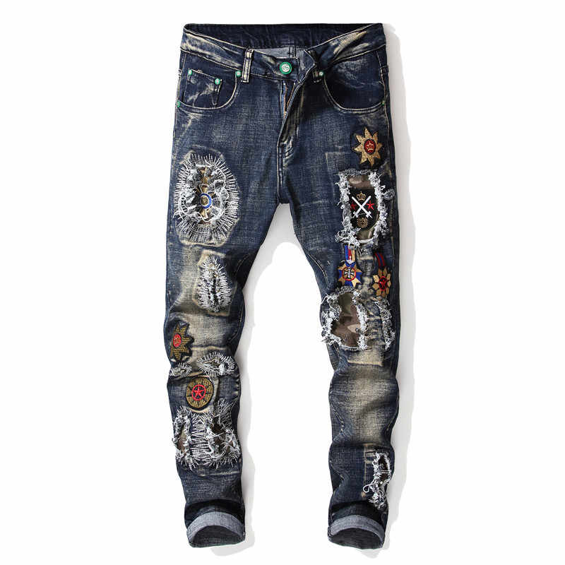 2019 jesienno-zimowa męska Patchwork zgrywanie haftowane jeansy ze streczem modne otwory proste spodnie jeansowe
