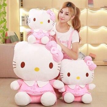 цена Kawaii Hello Kitty Plush Doll Soft Stuffed Cat Plush Toy Cute  Pink Hello Kitty Girl Baby Kids Gift Creative Decor онлайн в 2017 году