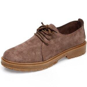Image 5 - 2020 סתיו חדש נעלי נשים שטוח מרטין מגפי נעליים יומיומיות אישה האופנה אוקספורד רטרו אלגנטי שרוכים החלקה
