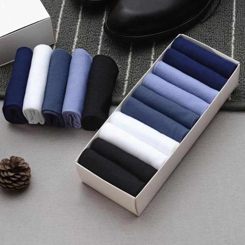 10pairs/lot Bamboo Fiber Socks Men Stripe Thin Silk Socks Man Business Casual Long Socks Man Calcetines Meias