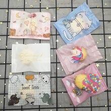 Selo do calor que coze o saco de empacotamento plástico dos desenhos animados malote alimento lanche saco fosco claro biscoito biscoitos doces pacote sacos 7*10cm