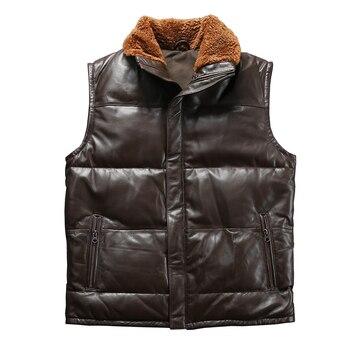 1615 Read Description! Asian size super quality sheep skin warm vest men's sheep leather vest mens duck feather down vest m65 0003 read description asian size duck feather super warm m51 m65 parka jacket lining