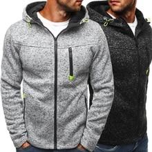 Zipper Patchwork Hoodies Men 2020 Autumn Spring Black Sweatshirts Hip hop Punk Streetwear Fleece Jacket Casual Pullover Coat