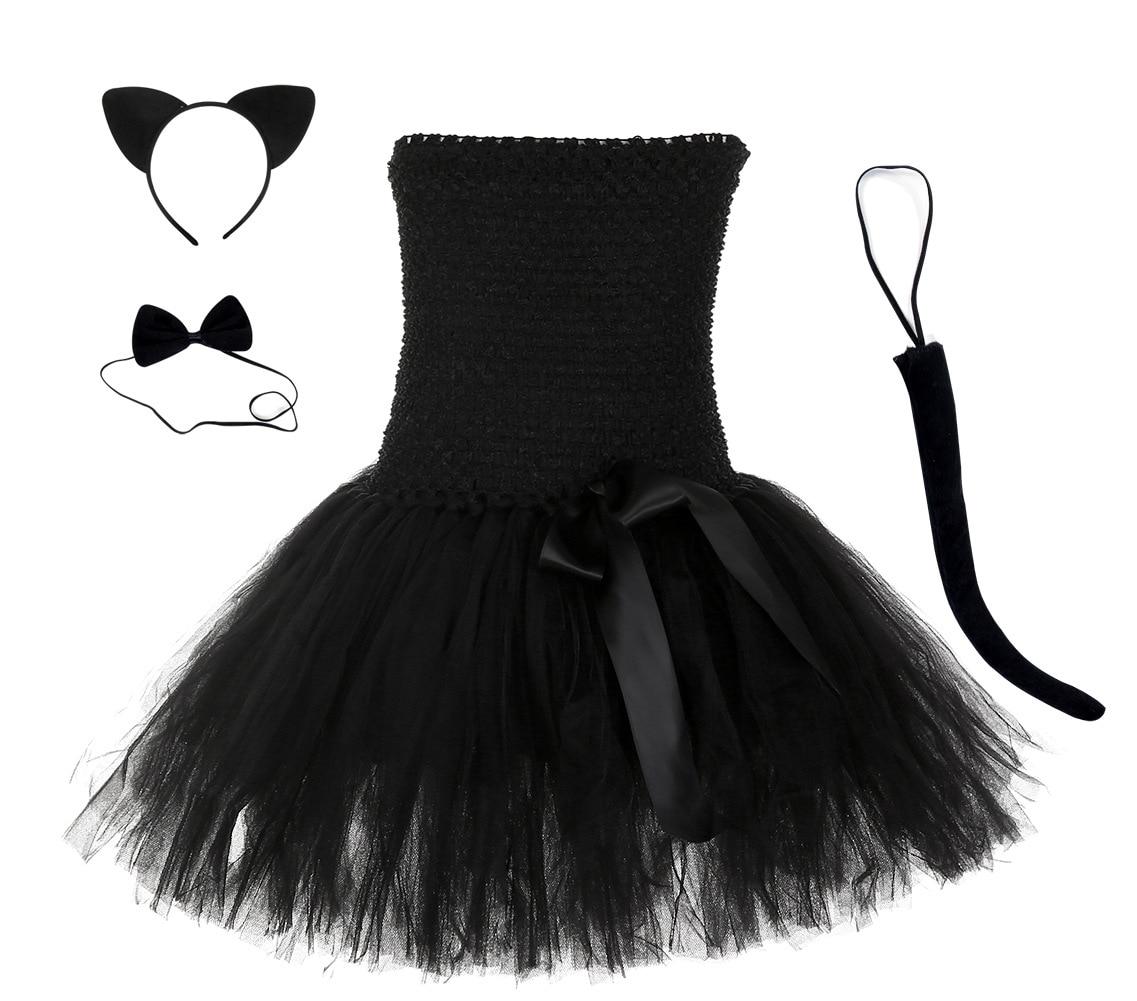 Childrens Black Cat Set Ears Tail Bow Tie Girls Fancy Dress Costume Accessories
