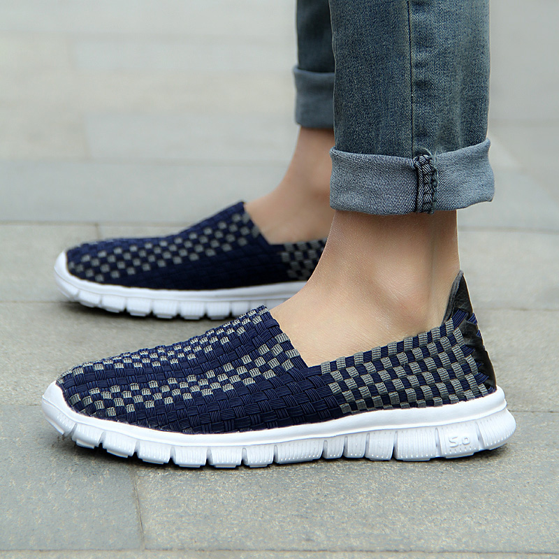 Weweya Unisex Elastic Casual Shoes for Men Lazy Driving Flats Loafers Elastic Soft Handmade Grid Man Walking Shoe Sneakers Male