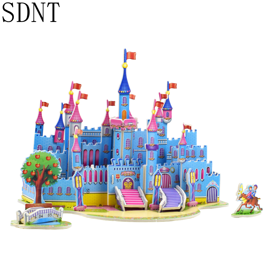 Cute Castle Puzzle Model Kits Toys For Girl 3D Fairy Building Educational Model Puzzles Toy Gifts For Kid Home Office Decoration