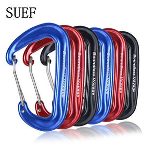 SUEF Boundless Voyage 12KN Climbing Carabiners Heavy Duty D-type Clips Aluminum Alloy Hook for Hammocks Camping @3