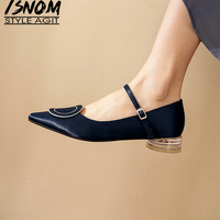 ISNOM Genuine Leather Women Flats Ankel Strap Buckle Transparent Low Heel Ladies Pointed Toe Solid Footwear Lady Pumps Shoes