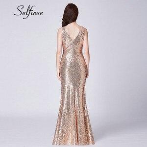 Image 2 - Sexy Dresses Woman Party Night New Design Elegant Little Mermaid V Neck Rose Gold Sequin Dress Long Dress Vestidos De Fiesta