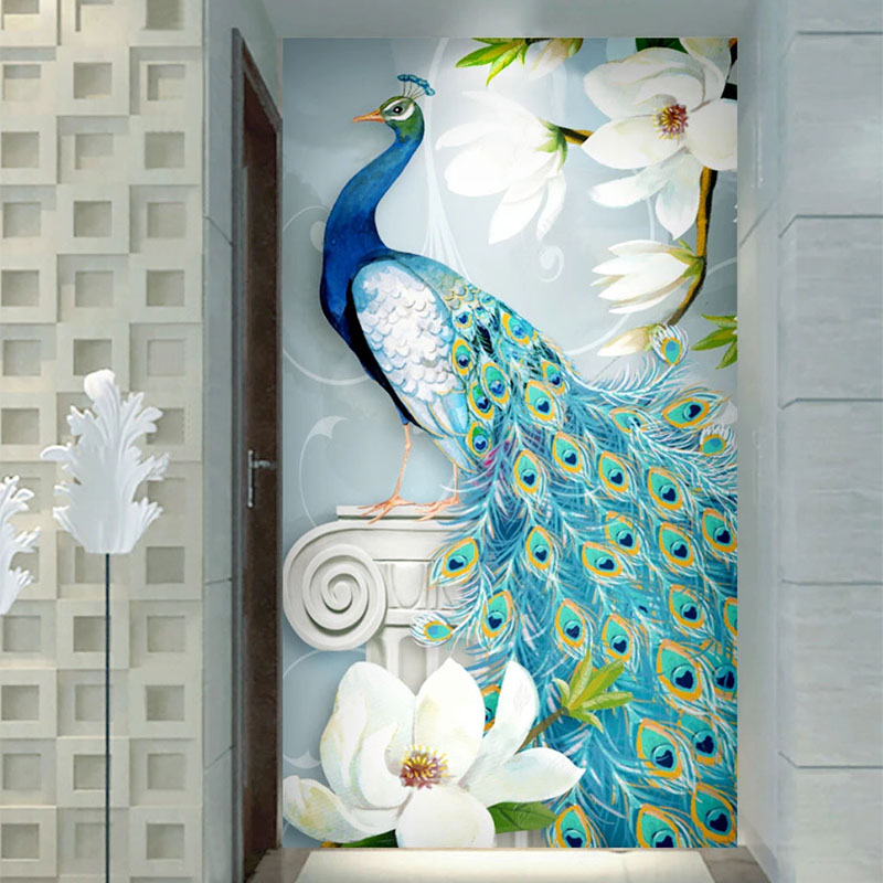 Custom Wallpaper 3D Peacock Hand-Painted Flowers Murals Living Room Bedroom Hotel Entrance European Style Home Decor Wallpapers