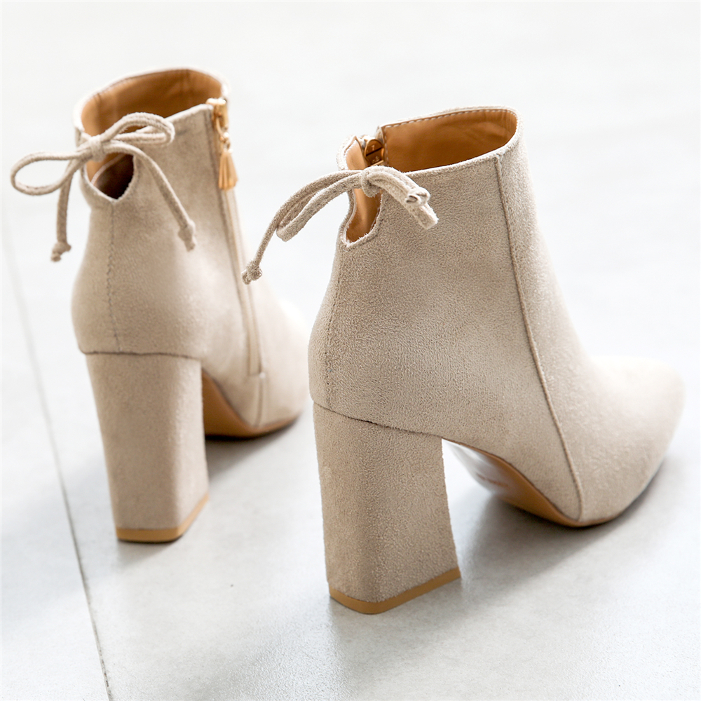 Women Autumn Winter Boots Women Causal Ankle Boots Solid Shoes Women 39 s Pointed Toe Shoes High Heels Ankle boots For Female in Ankle Boots from Shoes
