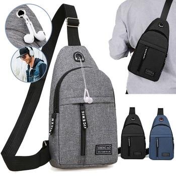 Men Shoulder Bag Sling Chest Pack Outdoor Travel Sport USB Charging Crossbody Bags Handbag Women Backpack