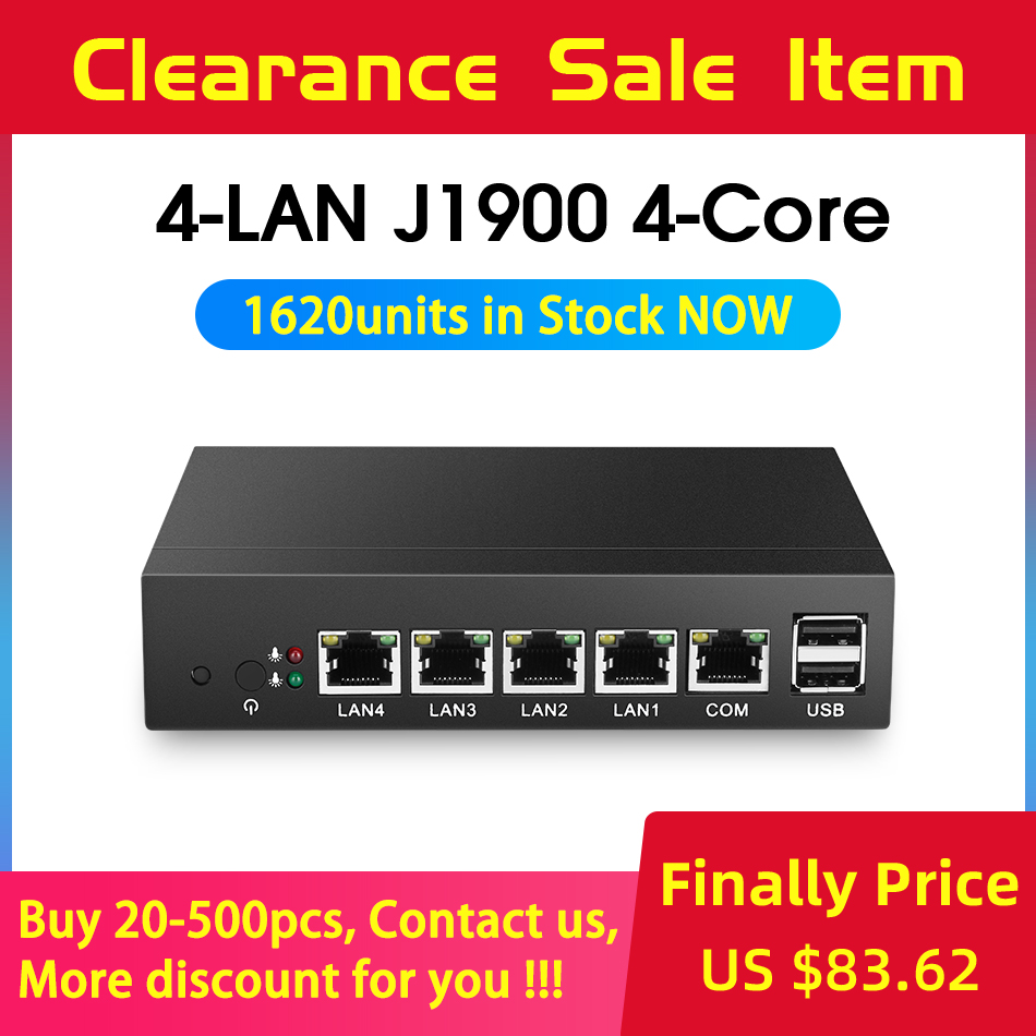 Fanless Mini-pc Celeron J1900 Quad Core 4 pFsense Gigabit LAN Router Firewall do Windows 4 RJ45 10 Thin Client VGA mini Computador