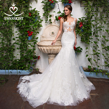 Sexy Appliques Mermaid Wedding Dress Sweetheart Illusion Lace Court Train Swanskirt GI14 Bridal Gown Princess Vestido de novia
