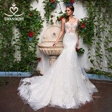 Sexy aplikacje suknia ślubna syrenka Sweetheart Illusion koronki sąd pociąg Swanskirt GI14 suknia ślubna księżniczka Vestido de novia