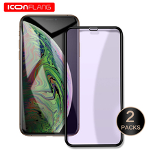 [2 Pack] ICONFLANG Screen Protector for iPhone Xs Max XR 8 Plus Anti-Blue Ray 3D Curved Surface Tempered Glass Film Touch