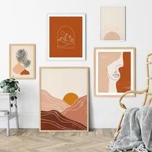 Boho cartaz abstrato pacote linha pintura em tela na parede horizonte sol nordic arte impressão imagem para sala de estar decoração casa