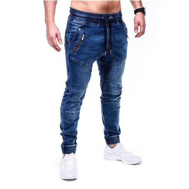 Pantalones vaqueros ajustados azules y grises para hombre, pantalón vaquero negro con cremallera, pantalones pitillo de color puro para Vaqueros, pantalones de locomotora 1