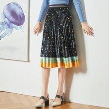 High waist Skirt Velvet Medium length 2019 New style in autumn and winter Retro Temperament A-shaped skirt with pleats