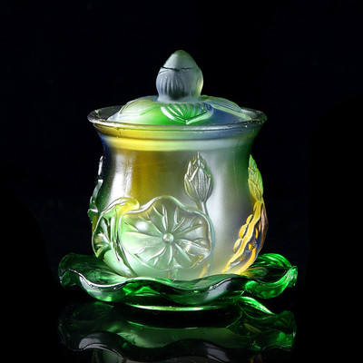 Buddhism Supplies Glass Water Cup Lotus Holy Water Cup Purification Cup Avalokitesvara Lucky Cup|Statues & Sculptures| |  - title=
