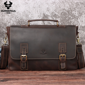 HUMERPAUL Men Briefcase Crazy Horse Leather Laptop Bag Doctor Lawyer Computer Bag Cowhide Male Briefcase Cow Leather Men Bag