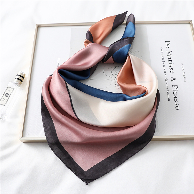 2020 New Design Women Silk Scarf Square Neck Shawls Foulard Lady Pashmina Solid Geometric Bandana Hair Band Kerchief