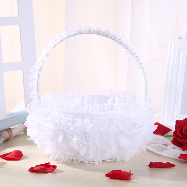 Silver Sequin Glitter Wedding Basket Sparkling Rhinestones Flower Girl Basket Bridal Wedding Ceremony Party Favor