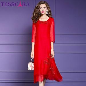 Image 4 - TESSCARA vestido de gasa suave para mujer, elegante vestido de fiesta de gasa suave para mujer, vestido de cóctel Vintage con lentejuelas