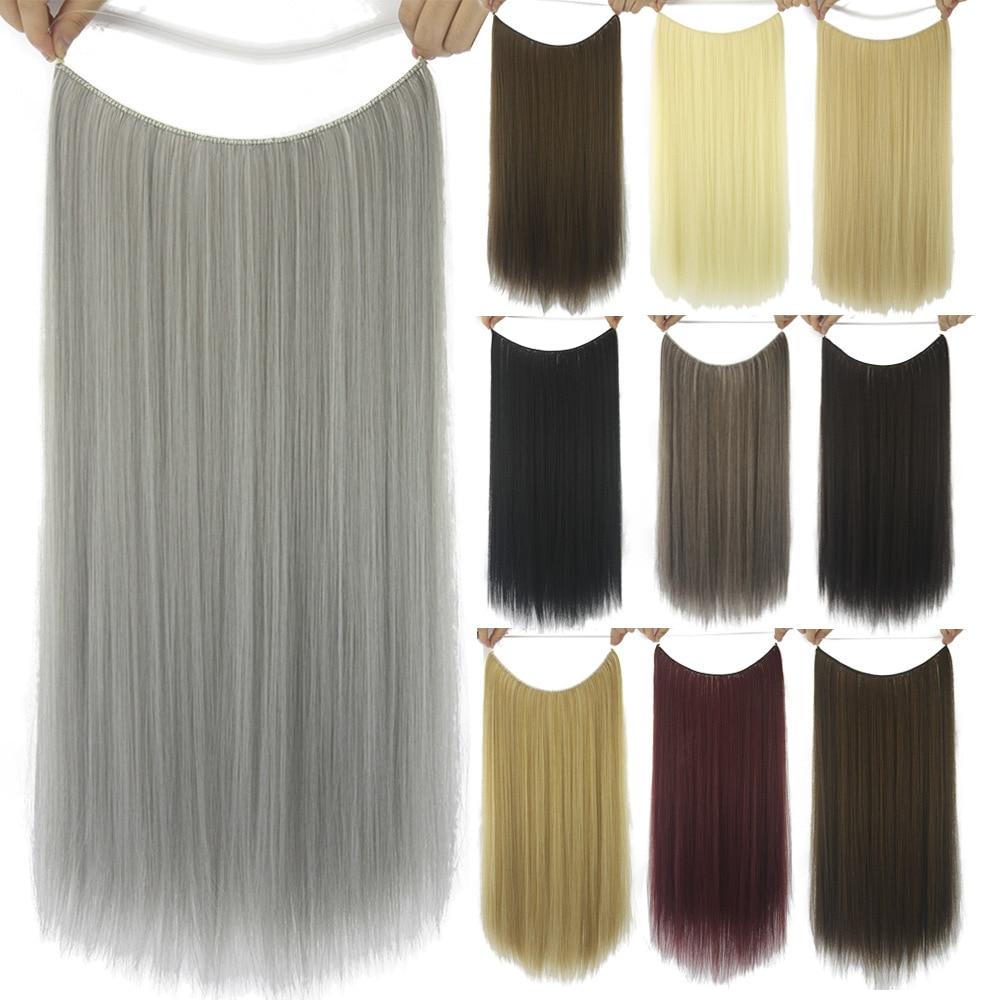 Extensões de cabelo louro em linha reta invisível ombre bayalage sintético natural escondido secreto coroa fio cinza rosa cabelo by144