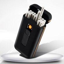 Metal 20pcs Capacity Cigarette Box Lighter with USB Electronic Lighter Cigarette Holder Plasma Arc L