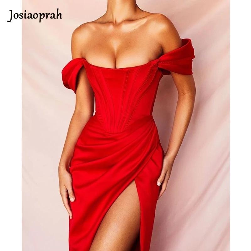 Josiaoprah Off Shoulder Sexy Split Corset Satin Dress Fashion 2021 Summer Strapless Bodycon Dress Women Party Night Club Dress